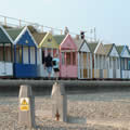 Beach huts on Southwold Beach today