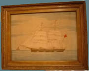 Needlework of the barque, 'Emma' , stitched at sea in 1879