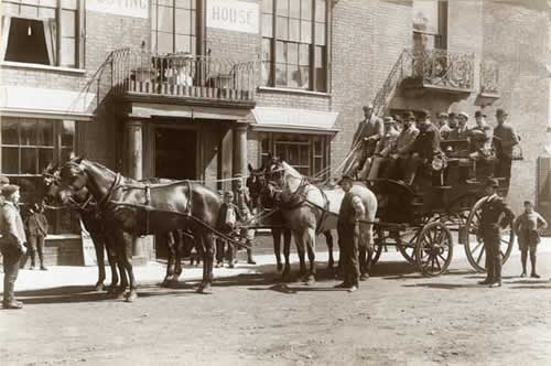 Mrs Catton's Horse-drawn omnibus which ran between 1860 and 1879