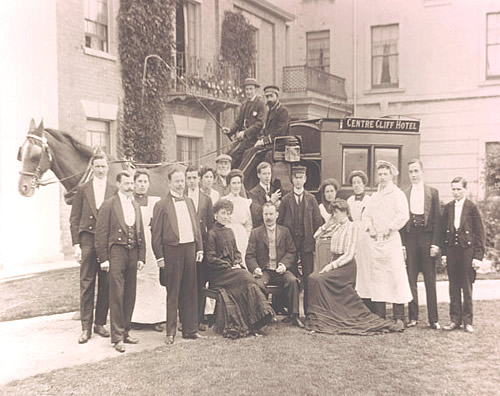 Guests and staff with the coach owned by the Centre Cliff Hotel