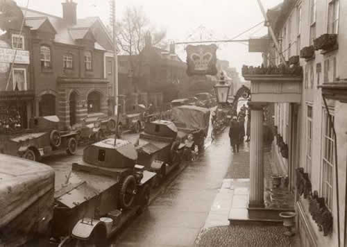 Armoured Cars in Southwold High Street during WWI